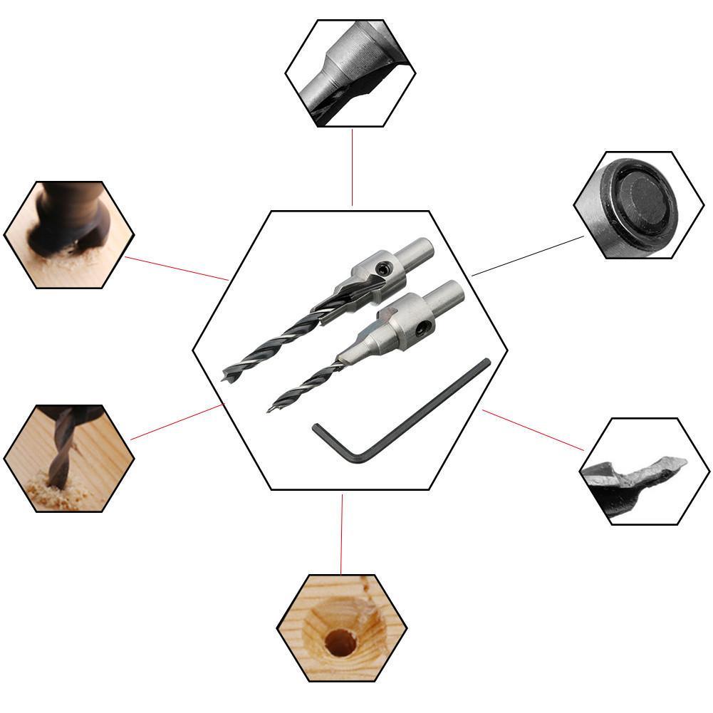 4//6//5//7mm Carbon Steel Twist Chamfer Countersink Screw Hole Drill Bits Reamer