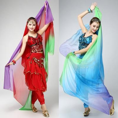 India Belly Dance Costume Chiffon Bollywood Gold Trim Veil Shawl Face Scarf Lace