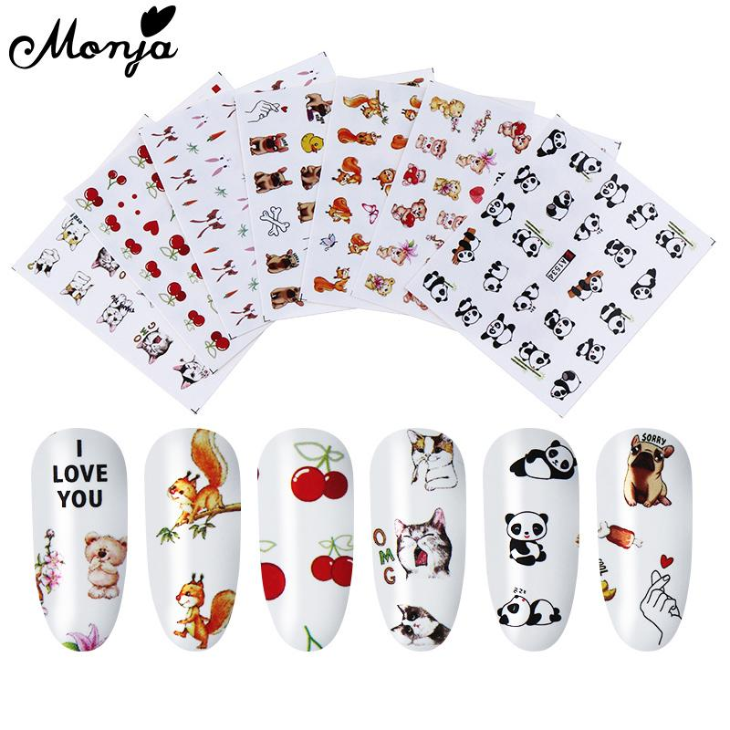 Monja 7Pcs Cute Dog Cat Animal Nail Art Water Transfer Sticker Watermark DIY Decals Decoration