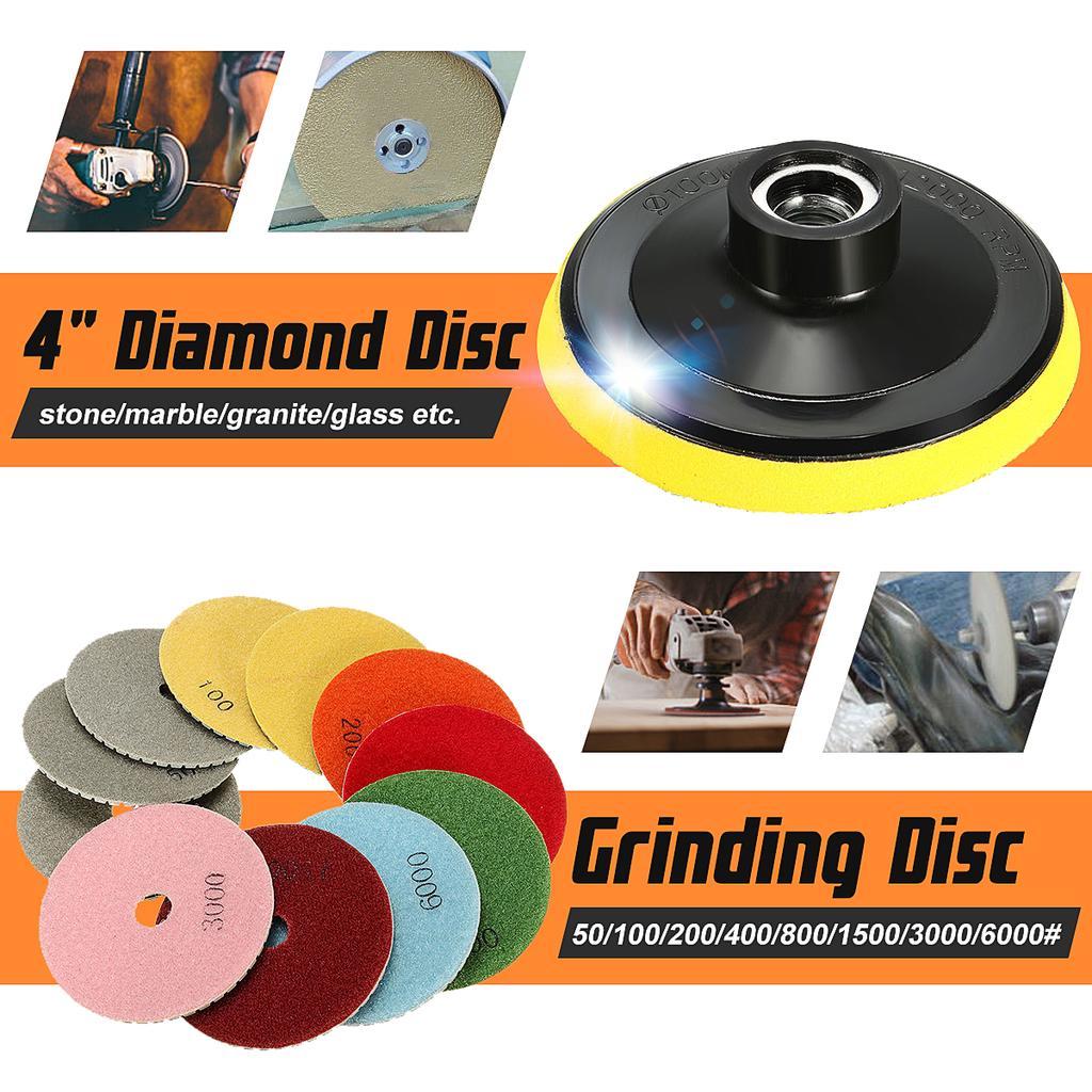 12Pcs 4/'/' Diamond Polishing Pads Wet Dry Set Kit For Granite Concrete Marble