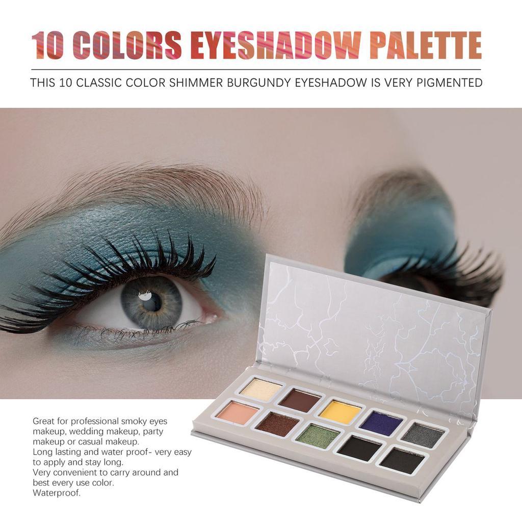 Paleta Fard De Pleoape 10 Culori Stralucesc Mat Pigmentat Lungă