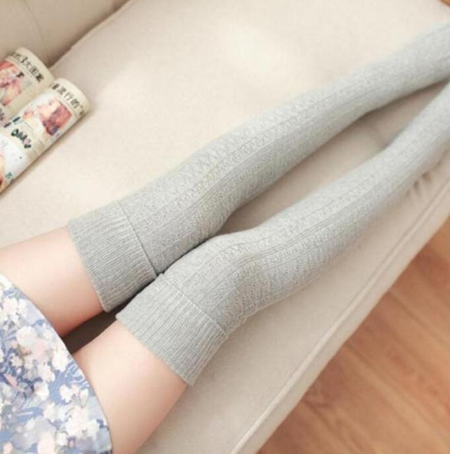 659c30ac6 Hot Sale Women Wool Braid Over Knee Socks Thigh Highs Hose Stockings ...