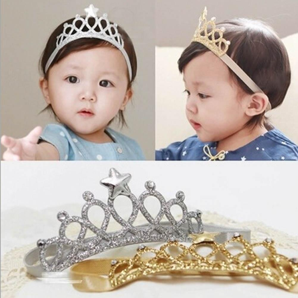Baby Tiara Headband Princess Crown Headband Baby Headwear Girl Tiara Silver