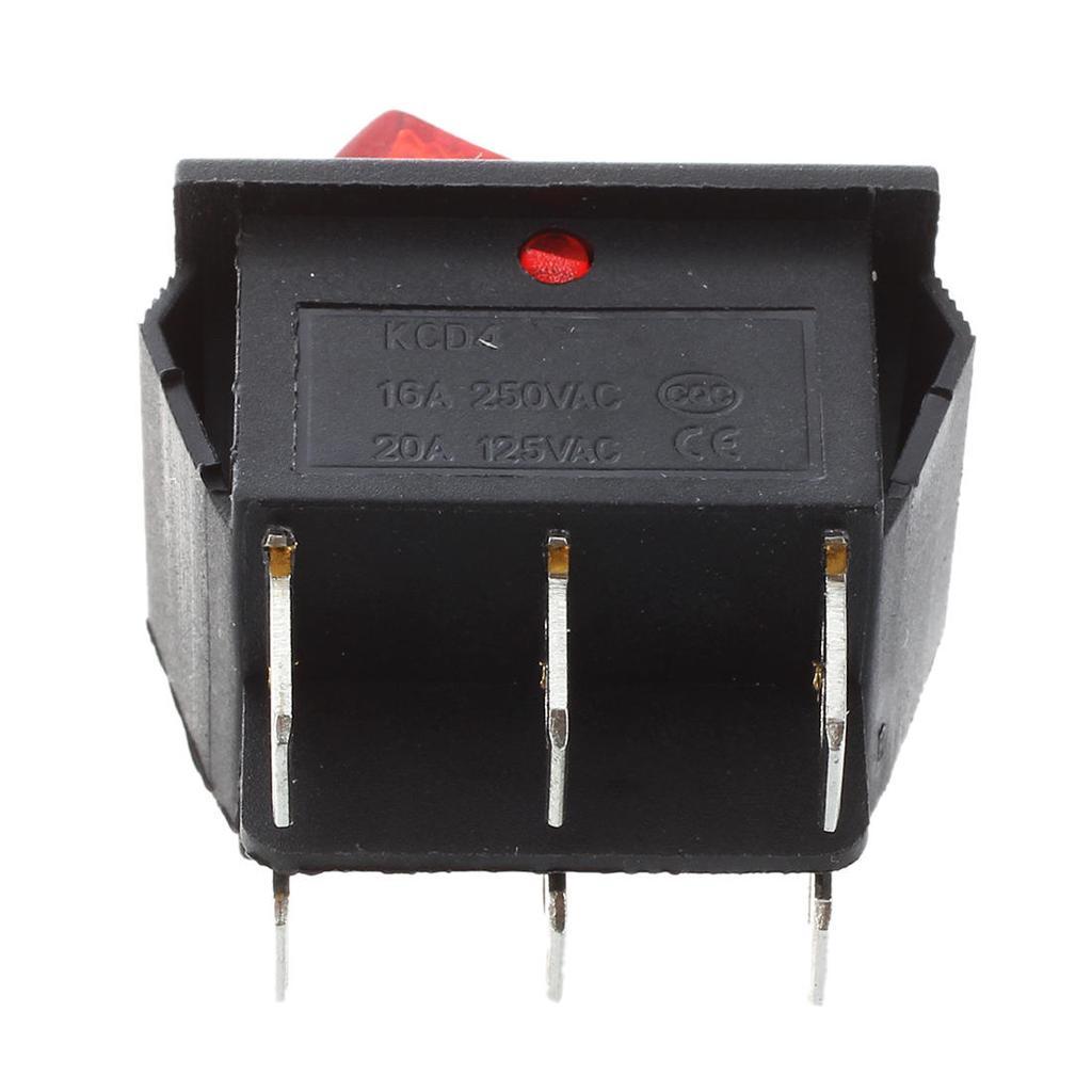 5 Pcs DPDT roten Neon-Licht an/aus/an Rocker Schalter AC 250V/15A ...