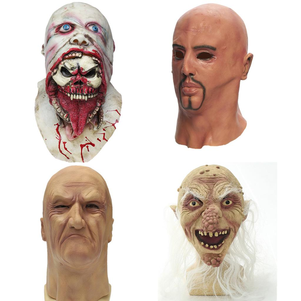 Halloween Scary Ghost Face Blood Old Men Latex Mask Zombie Prank Tool Costume