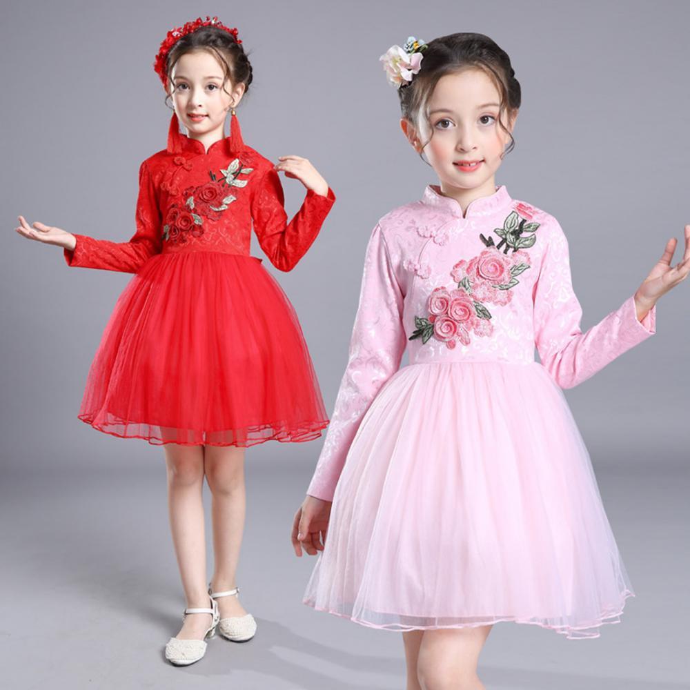 Estilo chino las muchachas de flor vestido largo manga Floral ...