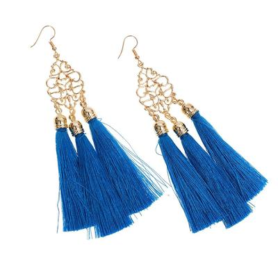 beaa8e2f631129 Oryginalny czeski jedwabny materiał długi drop dynda tassel kolczyki dla  kobiet charms biżuteria