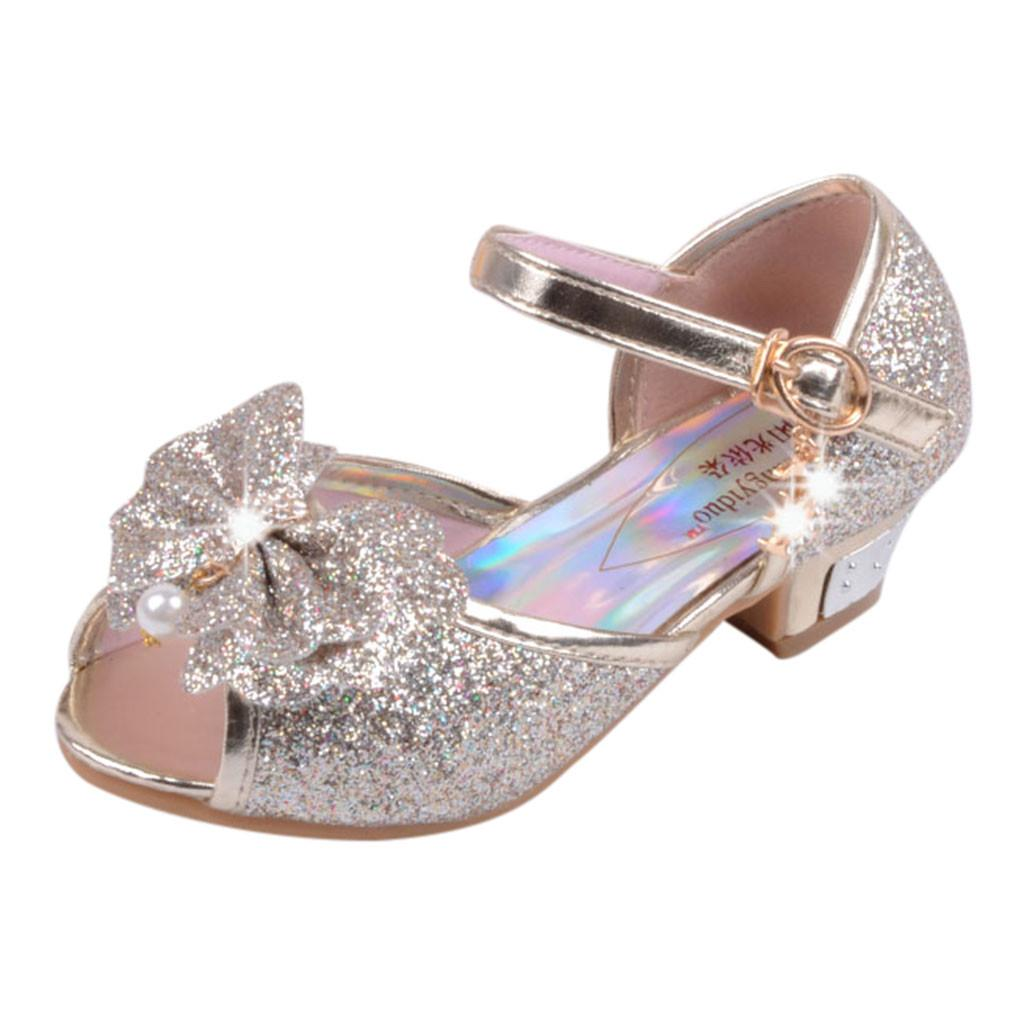 Pollyhb Girls Princess Shoes Children Sandals Stylish Kids Baby Crystal Bling Butterfly Party Wedding Single Footwear