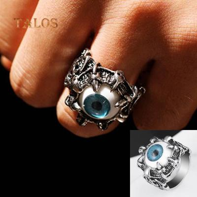 Super Cool Stainless Steel Dragon Claw Blue Evil Eye Skull Biker Ring
