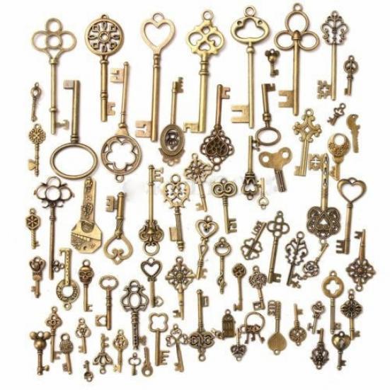 100X Mix Look Skeleton Key DIY Necklace Key Chain Metal Jewelry Making PendantXJ