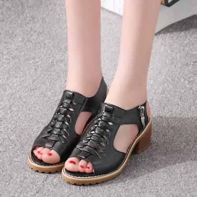 Womens Heel Sandals,Ladies Breathable Peep Toe Zipper Square Shoes