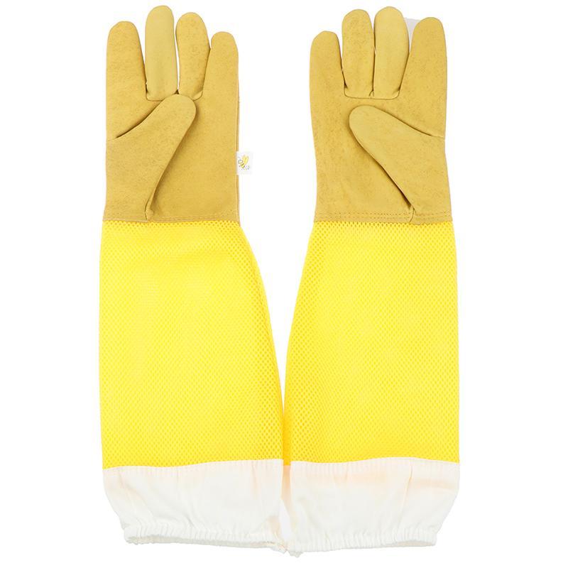 1 Pair Beekeeping Gloves Goatskin Bee Keeping With Vented Beekeeper Long Gloves