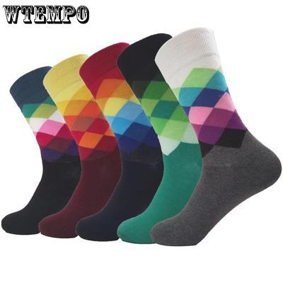 35518891b9828 WTEMPO 5 paire/lot Casual coton coloré géométrie chaussettes Harajuku robe  Diamond longues chaussettes Business