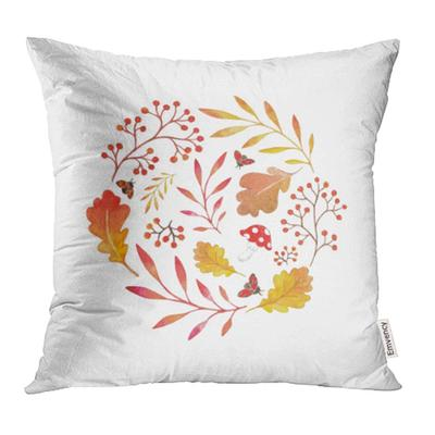 Leaf Colorful Autumn Branches With Leaves Watercolor Design Fall Wreath Gold Pillowcase Cushion Cover 18x18inch 45x45cm Buy At A Low Prices On Joom E Commerce Platform