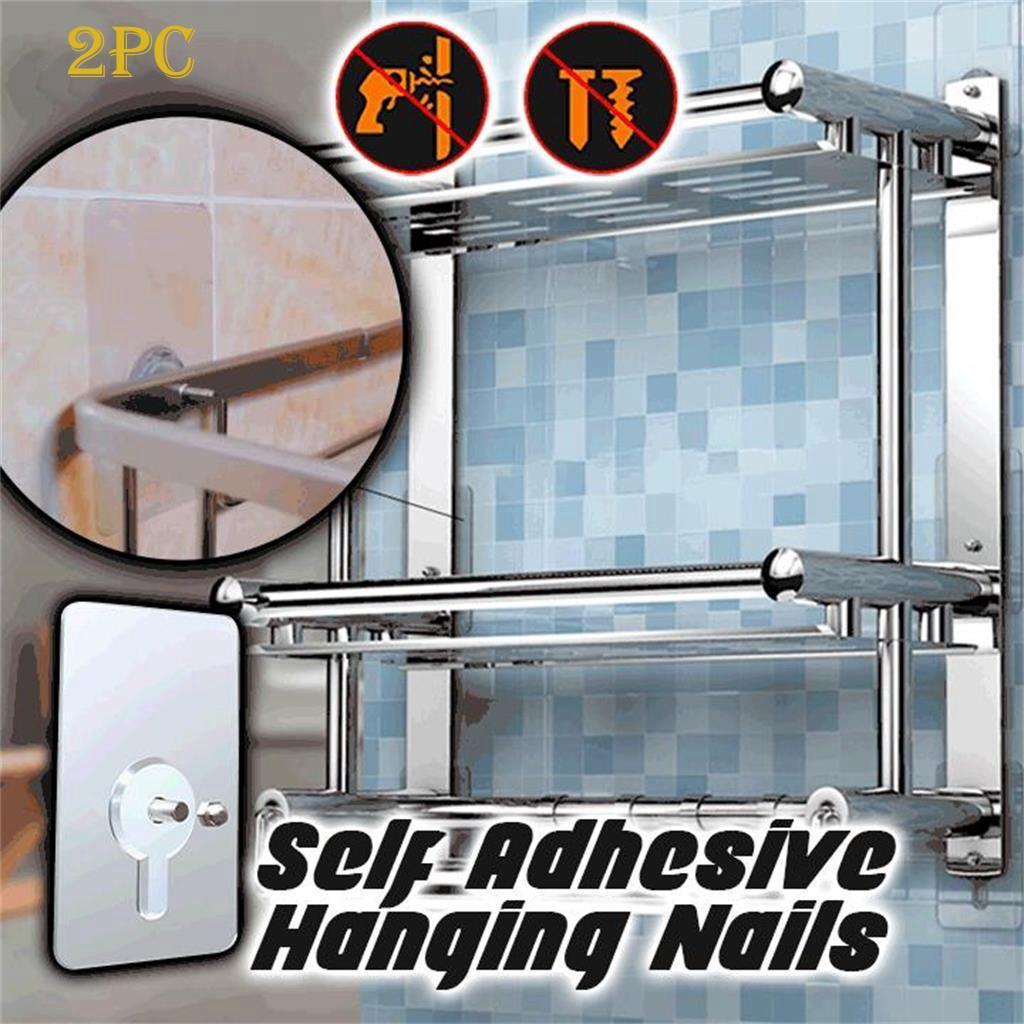 Self Adhesive Hanging Nails Nail Free Wall Hook  for Bathroom Kitchen 2Pcs//set
