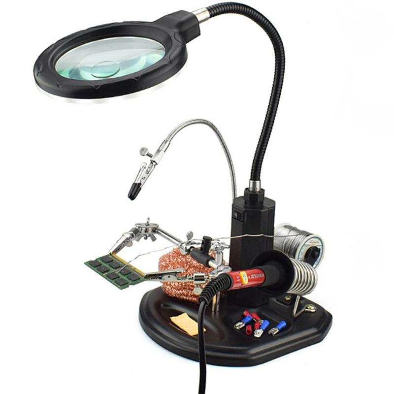 Desk Magnifier 2.5X 5X 16X LED Light Magnifier /& Desk Lamp Helping Hand Repair Clamp Auxiliary Clip Stand Desktop Magnifying Glasses