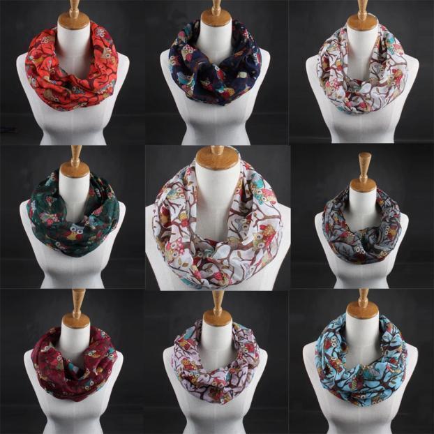 Женщины дамы сова шаблон печати шарф теплое обертывание шаль фото