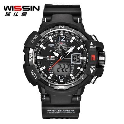 e1cb940ad977 50 metros resistente al agua tiempo de múltiples funciones Wissin Dual y  deportes reloj relojes despertador