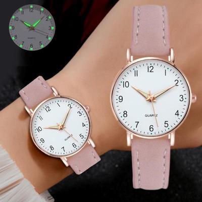 Fashion Ladies Luxury Leather Strap Analog Quartz Watch, Luminous Ladies Watch