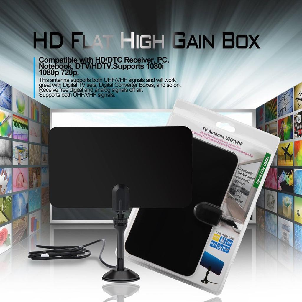 Digital Indoor HD TV HDTV DTV VHF UHF Analog Flat High Gain Antenna