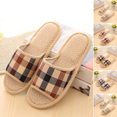 ac60e5f45445 Women Men Anti-slip Linen Plaid Home Indoor Summer Open Toe Flats Shoes  Slippers