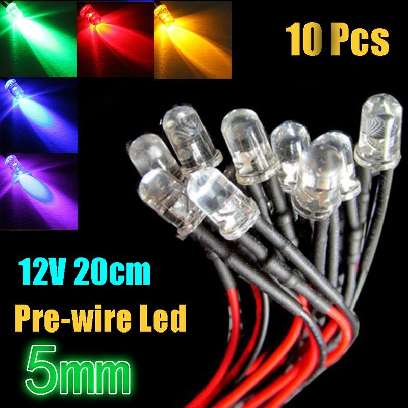 20cm Pre Wired 3mm 5mm LED Light Lamp Bulb Prewired Emitting Diodes For DIY