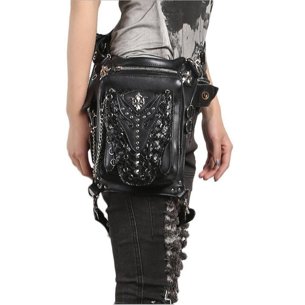 Womens Pu Leather Vintage Gothic Punk Bags Steampunk Waist Leg Hip Pack Fashion