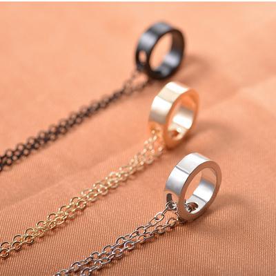 6b1bec87d603 Accesorios de la joyería oro círculo de Metal Simple anillo collar  geométrico acero inoxidable Color par