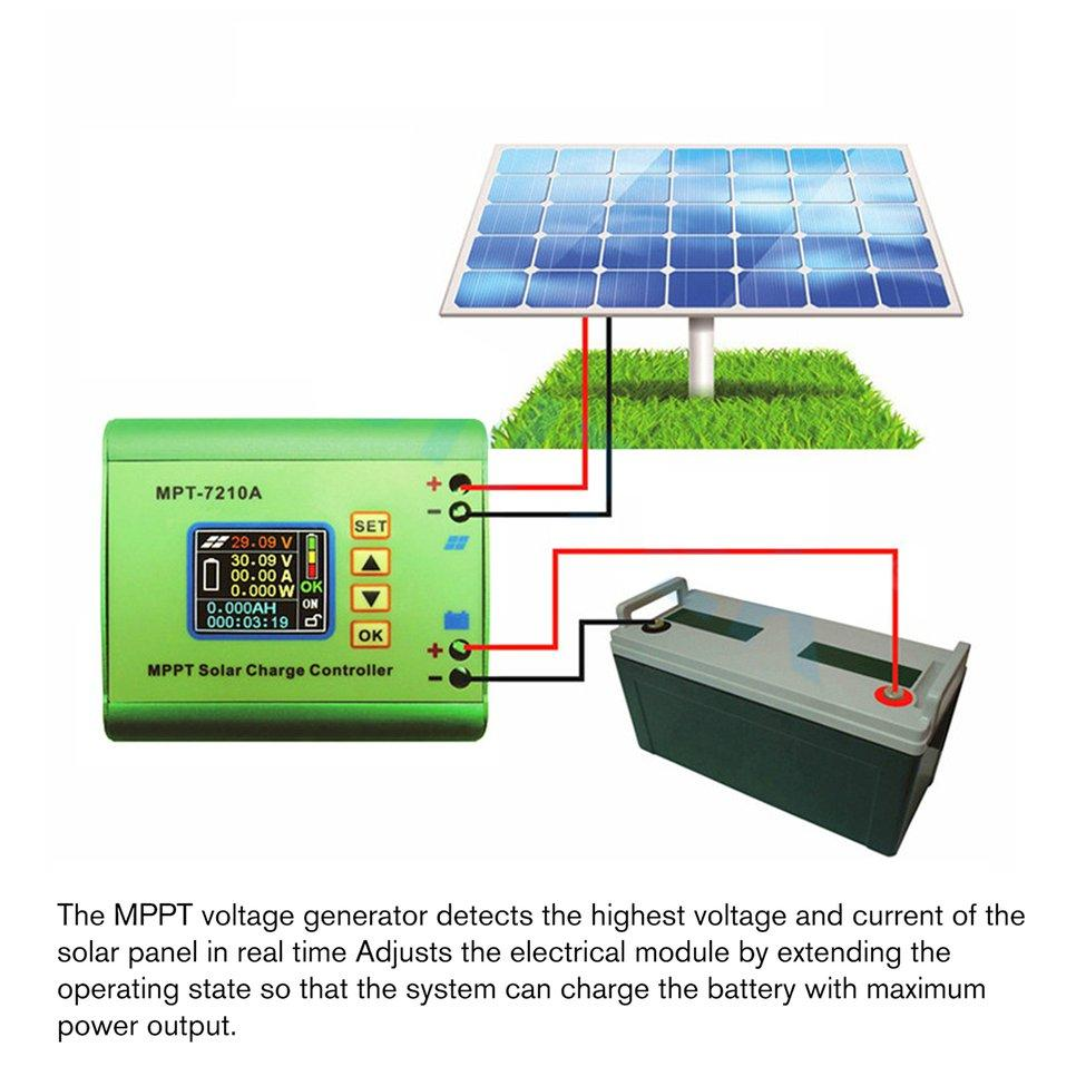 LCD MPPT DC-DC Solar Regulator Charge Controller 24//36//48//60//72V Boost MPT-7210A