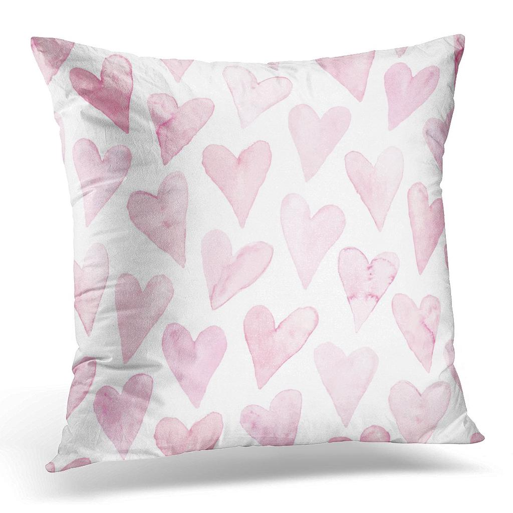 Drawn Watercolor Hearts Pink Pattern Colorful Romantic Hand Pillow Case Cover 20x20inch 50x50cm Buy At A Low Prices On Joom E Commerce Platform