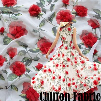 3D Embroidered Flower Sheer Chiffon Fabric Bridal Wedding Dress Cloth 100*150 cm