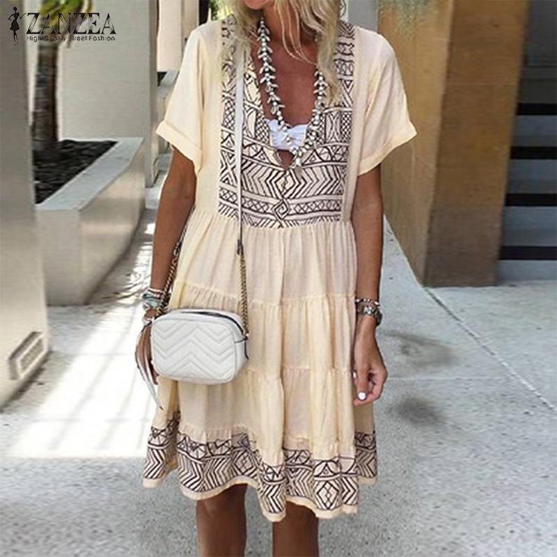 ЗАНЗЕА Летние дамы Короткий рукав V шеи печатных патчворк Tuinc платье Casusal Loose Midi платье фото