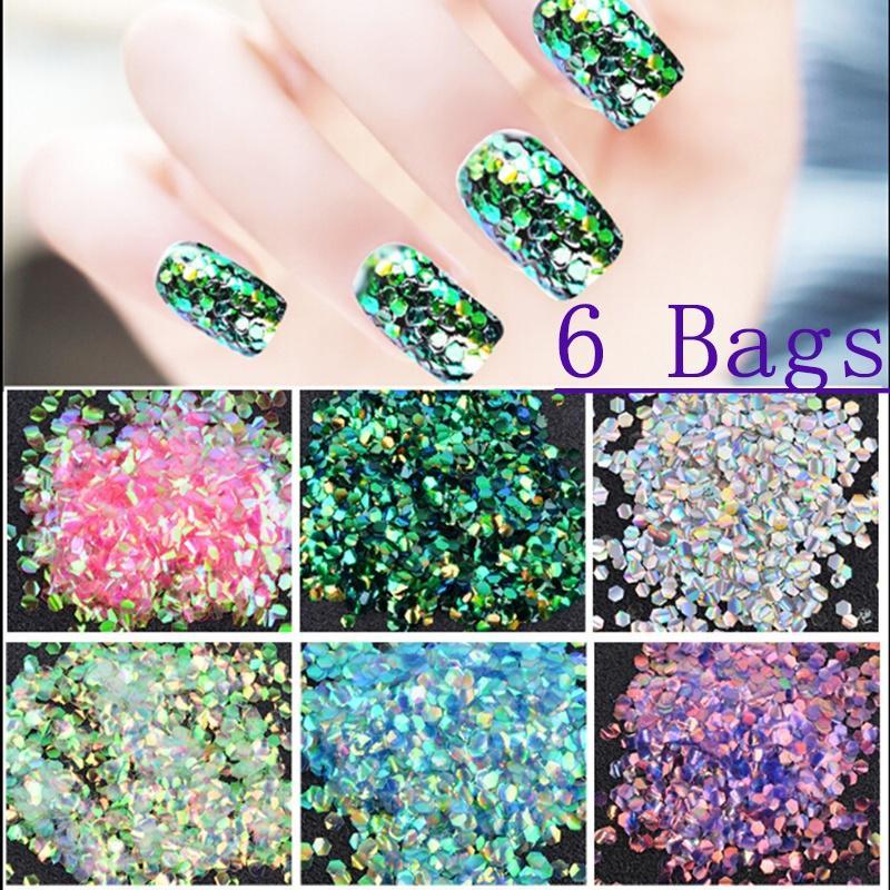Lentejuelas de uñas 6 bolsas brillante sirena resplandecer lentejuela manicura arte de uñas