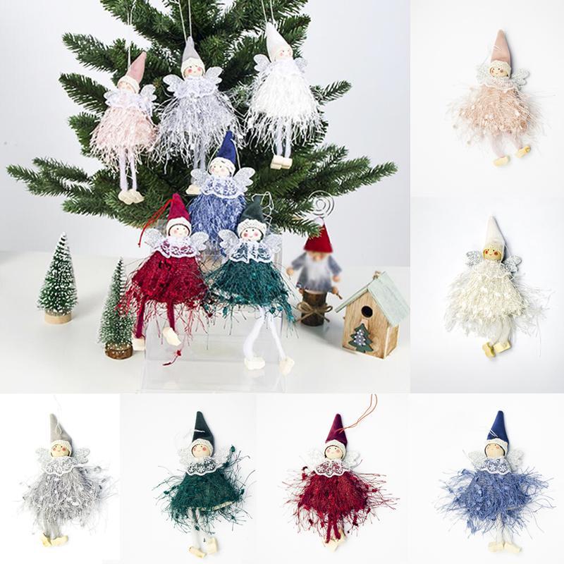 6Цветы Украшения Игрушка Рождественская елка Ангел Плюшевая кукла Рождественские подвески Главная Декор фото