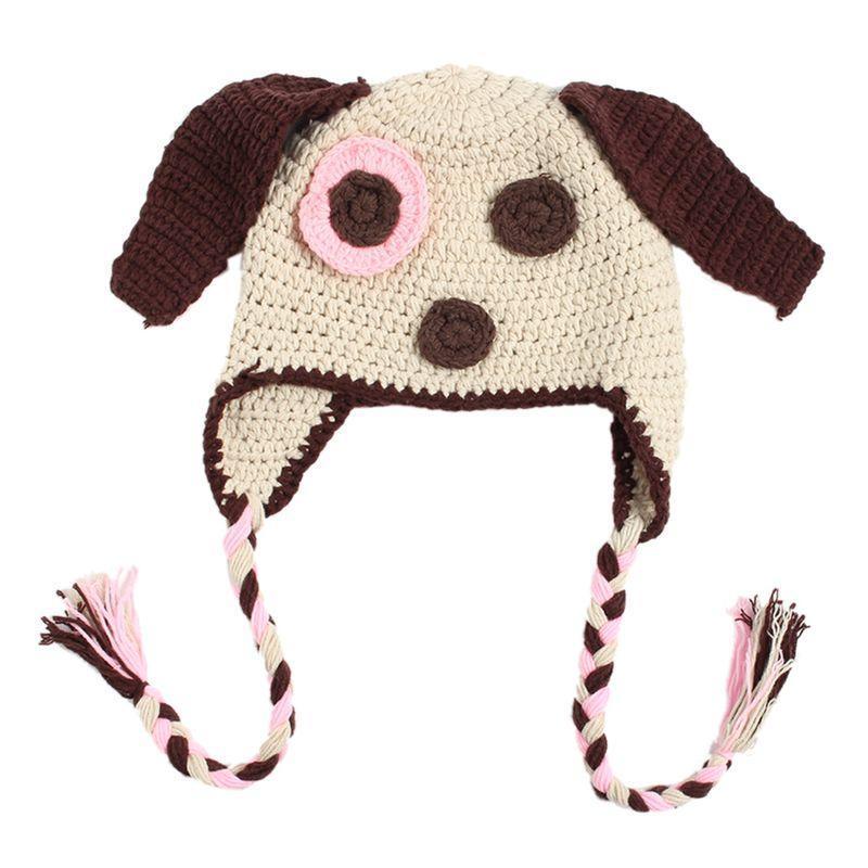 Niños lindos niños niñas Crochet punto perro gorros gorro recién ...