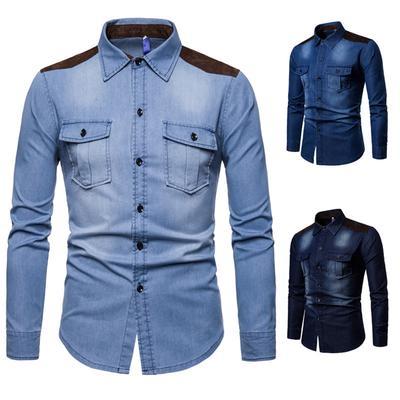 60f00e8b829 Футболка мужская лацкане рубашки случайных деним стиль Мужская мыть длинные  рукава рубашки 100% хлопок рубашки