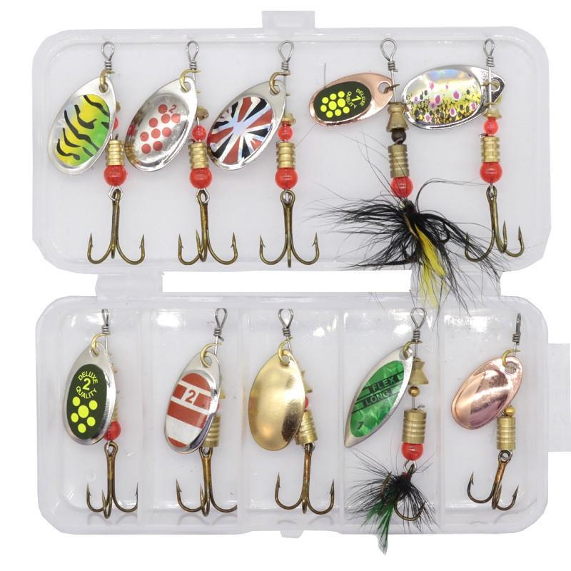 10pcs/lot Fishing Spoon Lure Spinner Bait Metal Baits Искусственный Wobbler Открытый Fiashing Tool