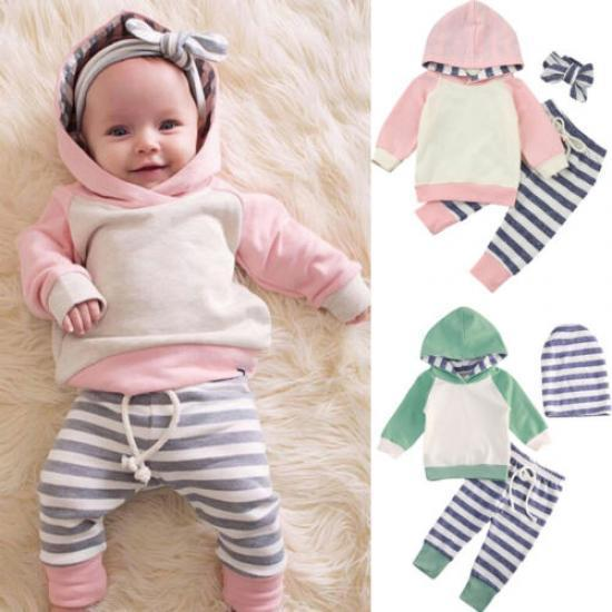 Newborn Baby Boys Girls Striped Animal UK Long Pants Leggings Outfits Clothes