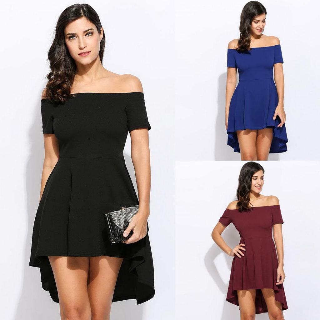 bd973526e34f Women Fashion Off Shoulder Solid Short Sleeve European Style Mini ...