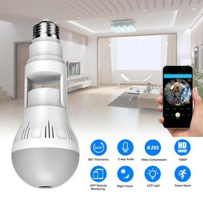 360-degree Panoramic Universal Bulb Surveillance Camera V380 Wireless Wifi Network Monitor Indoor Camera
