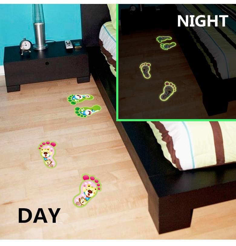 48 Pcs Leuchtenden Fußabdruck Footed Aufkleber Boden Füße Abziehbild Haus Kind Raum Dekor Richtungen