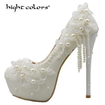 1ae10246 Primavera y verano boda zapatos tacones blanco perla encaje alta fiesta  novia de la mujer 8cm