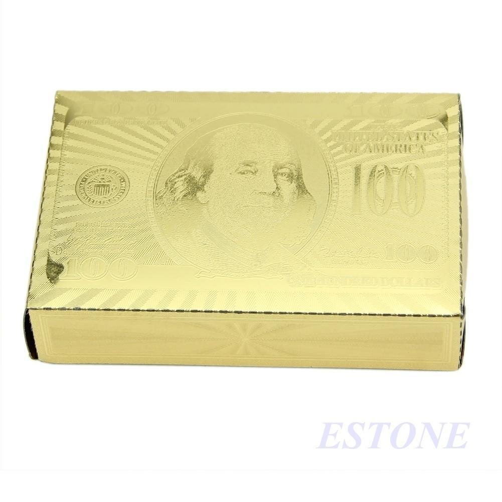 Cool 24k Gold Foil Plated Poker Playing Cards Deck Collection Us Walet Black Soap Original Box Diamond 2 Of 7