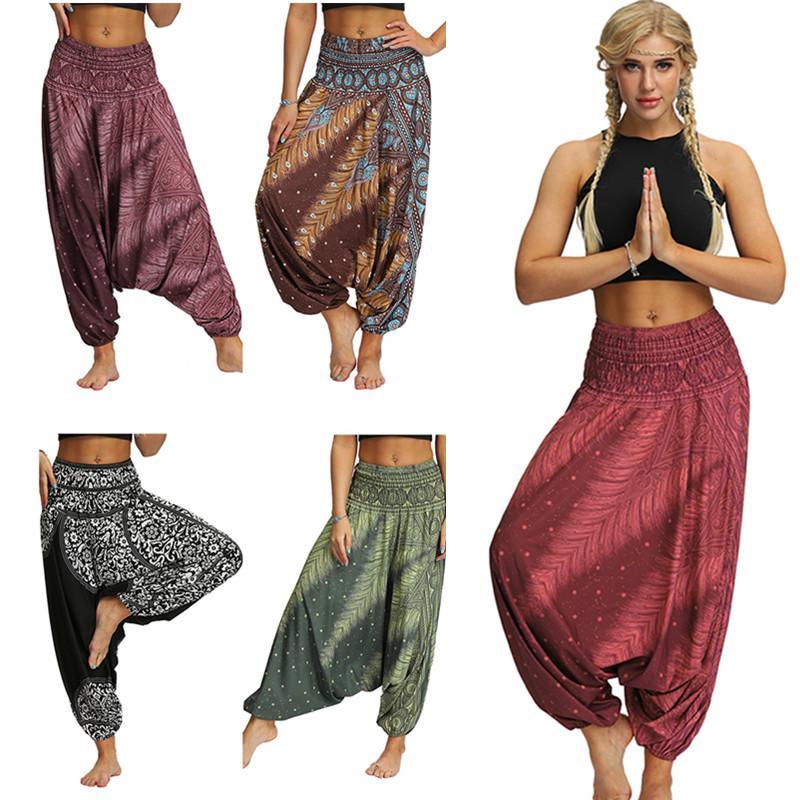 Womens Cotton Linen Harem Drop Crotch Pants Floral Baggy Loose Trousers Bottoms