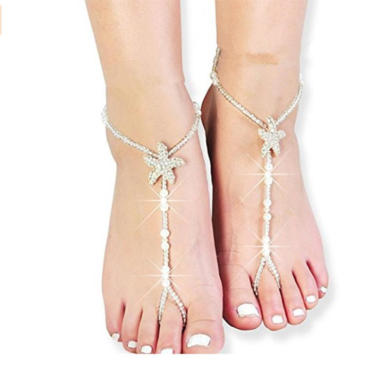 81ed73fd0df8 Anklets special beach wedding barefoot sandal bridal foot jewelry starfish  shoes bridesmaid
