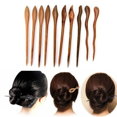 10x Traditional Carved Ebony Wooden Hair Pin Stick Original Retro Women Lady MW