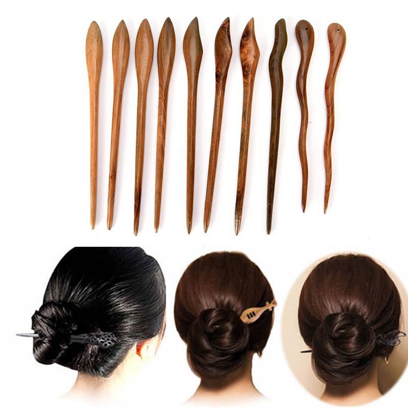 Retro Ethnic Wooden Handmade Chopstick Hair Stick Pin Wood Hair Accessories