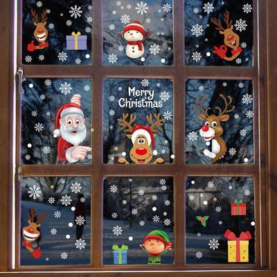 1PC Snowman Santa Claus Window Glass Stickers Christmas Decoration Decal Decor Home Supplies