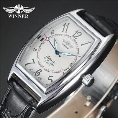 New WINNER Automatic Mechanical Watches Strap Dial Black Leather Oval Self wind AUTO Date Male Mens