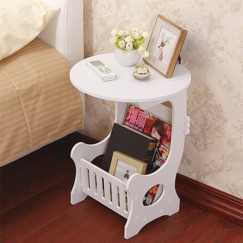 2 Tier Living Room Office End Table Sofa Side Coffee Laptop Table Tea Trolley